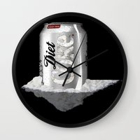 coke Wall Clocks featuring Diet Coke by yayanastasia