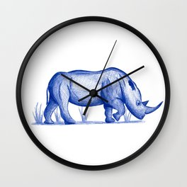 Save The Rhinos (50% of commissions are donated to the World Wildlife Fund) Wall Clock