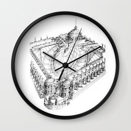 Temple . XVIII Century. Drawing by Tereza Del Pilar Wall Clock