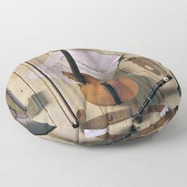 12,000pixel-500dpi - William Harnett - Music and Good Luck - Digital Remastered Edition Floor Pillow
