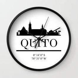QUITO ECUADOR BLACK SILHOUETTE SKYLINE ART Wall Clock