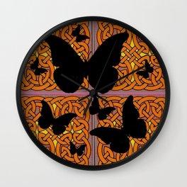 Mystic Black Butterflies Golden Celtic Patterns Wall Clock