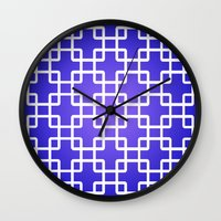 1d Wall Clocks featuring Pattern 1D by Robin Curtiss