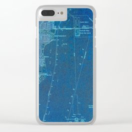 Miami Florida vintage map year 1950, blue usa maps Clear iPhone Case