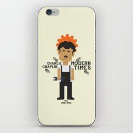 Modern Times, Charlie Chaplin, minimal movie poster, classic film, Charlot playbill iPhone Skin