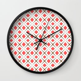 Chocolate Brown + Coral:  Pattern No.1 Wall Clock