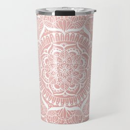 White Flower Mandala on Rose Gold Travel Mug