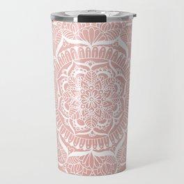 White Flower Mandala on Rose Gold Travel Mug