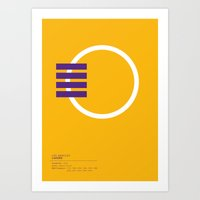 lakers Art Prints featuring Los Angeles Lakers geometric logo by edouard allegret