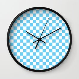Light Blue Checkerboard Pattern Wall Clock