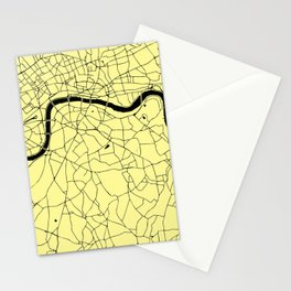 London Yellow on Black Street Map Stationery Cards