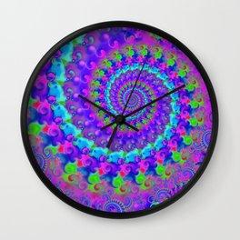 Funky Blue Fractal Pattern Wall Clock