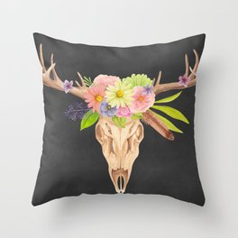 Deer Skull and Flowers Throw Pillow