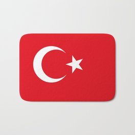 National flag of Turkey, Authentic color & scale Bath Mat