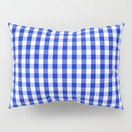 Cobalt Blue and White Gingham Check Plaid Squared Pattern Pillow Sham