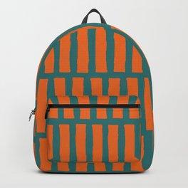 Hand painted orange green gradient stripes Backpack