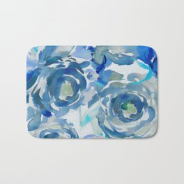 Sky Blue Painterly Floral Abstract Bath Mat