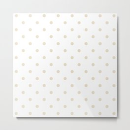 Polka Dots Pattern: Light Beige Metal Print