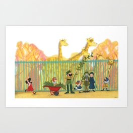 A day at the zoo - Illustration for young children about the zoo Art Print