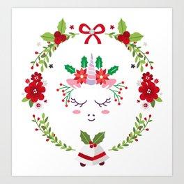 Christmas Unicorn Art Print