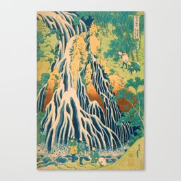 Pilgrims at Kirifuri Waterfall on Mount Kurokami in Shimotsuke Province Canvas Print