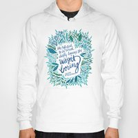 fitzgerald Hoodies featuring Zelda Fitzgerald – Blue on White by Cat Coquillette