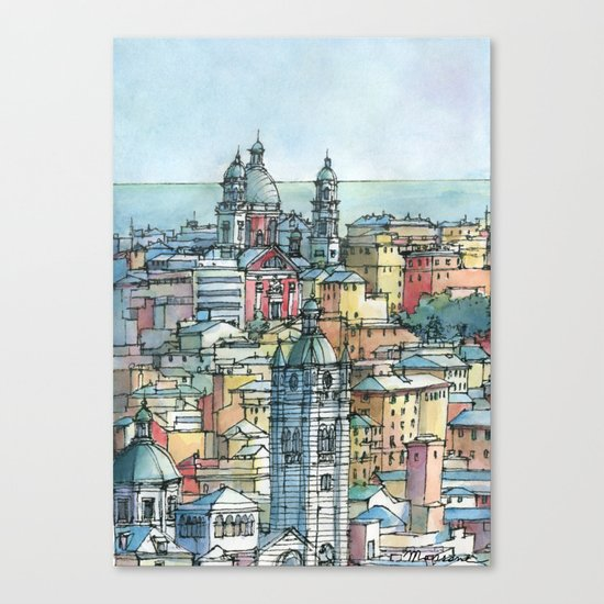Perspective of Genoa, Italy Canvas Print
