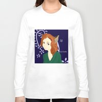 kitsune Long Sleeve T-shirts featuring Kitsune Girl by Izzy King