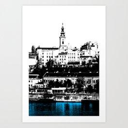 Port on the River Sava in Belgrade / BLUE Art Print
