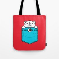 pocket Tote Bags featuring Pocket Polar by Steven Toang