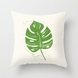 Linocut Leaf Throw Pillow
