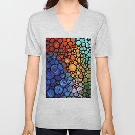 Abstract 1 - Beautiful Colorful Mosaic Art by Sharon Cummings Unisex V-Neck