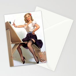 Vintage Pin Up Girl Artist Stationery Cards