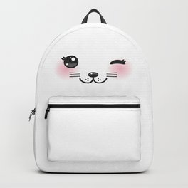 Kawaii funny cat with pink cheeks and winking eyes on white background Backpack