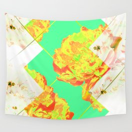Abstract Geometric Pop Green Peonies Flowers Design Wall Tapestry