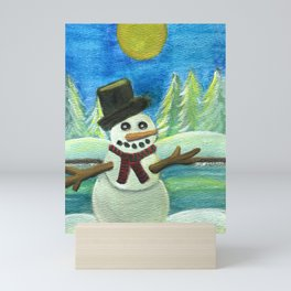 Sun-Kissed Snowman Mini Art Print
