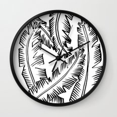 Modern Palm Leaves - black and white Wall Clock