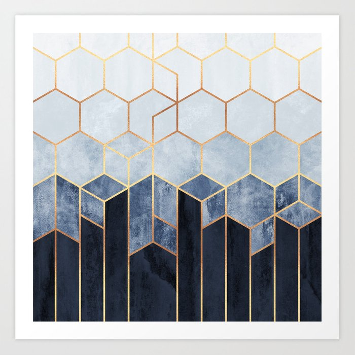 Soft Blue Hexagons Art Print