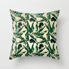Banana Leaf Pattern Linen Throw Pillow