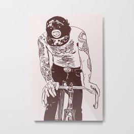 Men on fixie bike with tattoos Metal Print