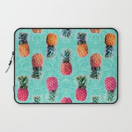 From Pineapple to Pink - tropical doodle pattern on mint Laptop Sleeve