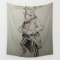 hare Wall Tapestries featuring March Hare by Jack Soler