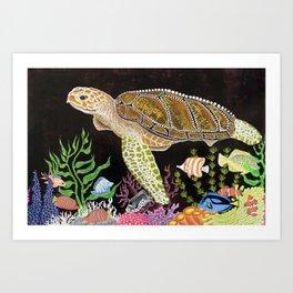 Sea Turtle, Reef Fish Art Print