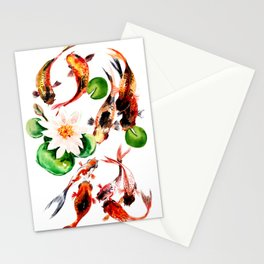 Koi Fish in Pond, Feng Shui Stationery Cards