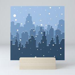 65 MCMLXV Blue Snowy Winter Cityscape Pattern Mini Art Print