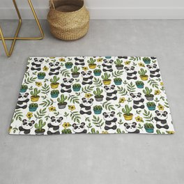 Panda Print, Succulents, Greenery and Cute Pandas, Flowers and Cactus Rug