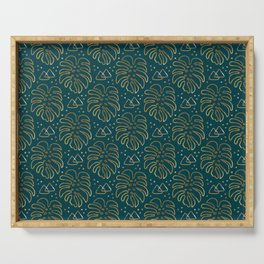 Gold Monstera on Teal Serving Tray