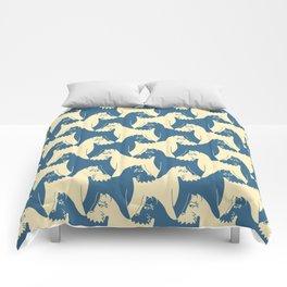 Dog Pattern | Schnauzer | M. C. Escher Inspired Artwork by Tessellation Art Comforters