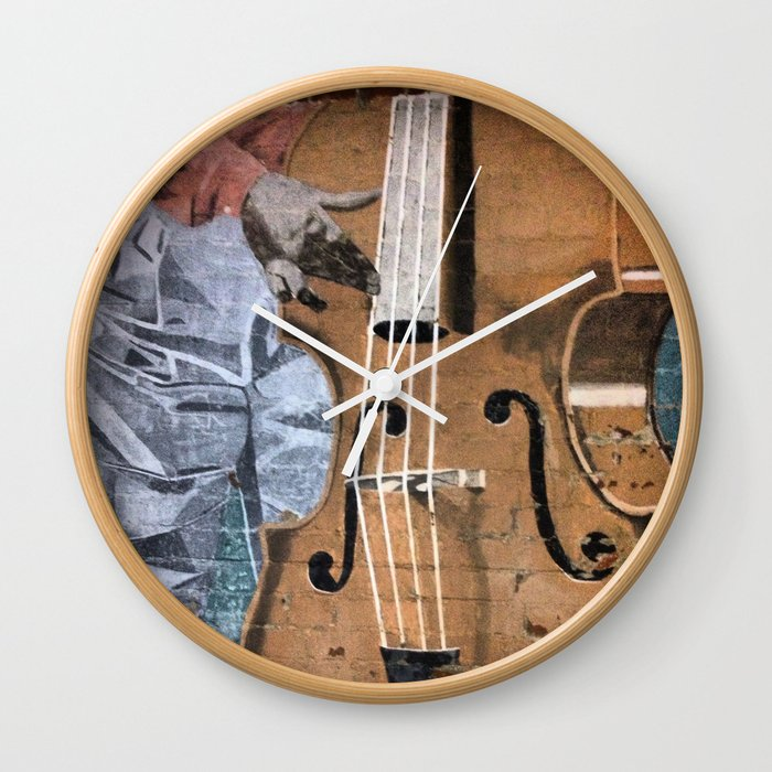 Bass player mural down town fresno wall clock by for Clock wall mural