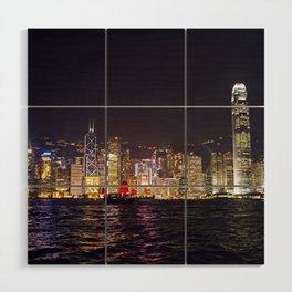 Hong Kong Night Skyline Wood Wall Art